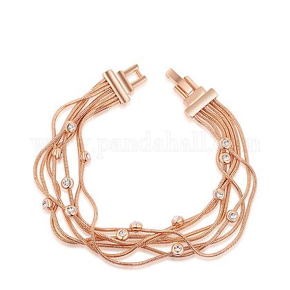 Pulseras de múltiples hilos de rhinestone de aleación ambiental chapado en oro rosa realBJEW-AA00067-40RG-1