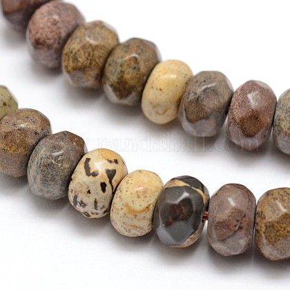 Faceted Natural Mookaite Rondelle Beads StrandsX-G-K090-08-1