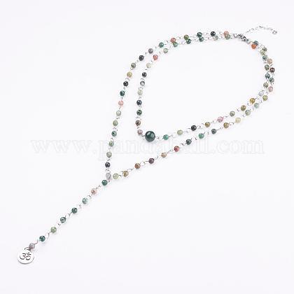 Natural Indian Agate Lariat NecklacesNJEW-JN01961-01-1