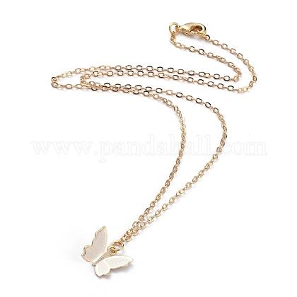 Collares colgantes de mariposa de latónNJEW-JN02677-1