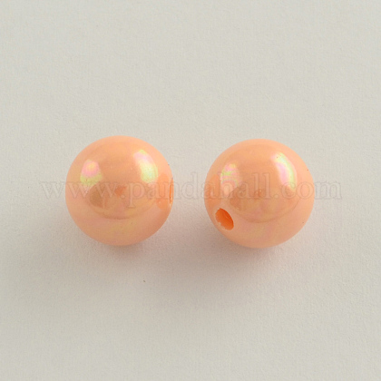 AB Color Plated Acrylic Round BeadsSACR-Q109-6mm-04-1