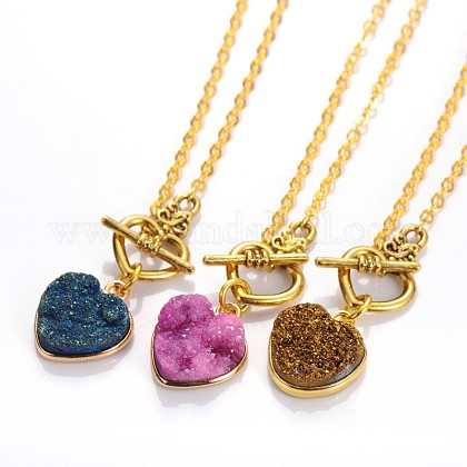 Valentine's Day Heart Electroplate Natural Druzy Crystal Lariat Necklaces NJEW-JN01143-1
