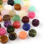 Flat Round Imitation Gemstone Acrylic Beads, Mixed Color, 14x7mm, Hole: 1.5mm; about 470pcs/500g