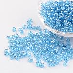 Round Glass Seed Beads, Trans. Colours Lustered, LightCyan, Size: about 4mm in diameter, hole: 1.5mm; about 496pcs/50g