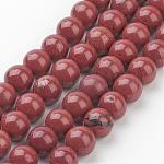 Natural Red Jasper Round Beads Strands, FireBrick, 8mm, Hole: 1mm; about 47pcs/strand; 16
