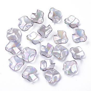 透明なアクリルパーツ  ABカラーメッキ  花びら  ゲインボロ  16x15x5mm  穴:1.4mm