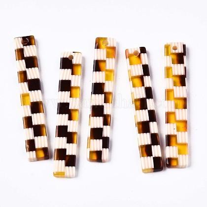 半透明の酢酸セルロース(樹脂)ペンダント  グリッド&ストライプ模様の長方形  サドルブラウン  39.5x6.5x2.5mm  穴:1.4mmX-KY-T040-58-1