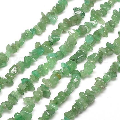 Natural Green Aventurine Chip Bead StrandsG-M205-10B-1