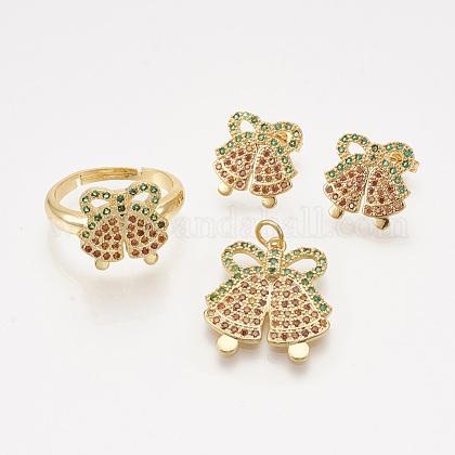 Colgantes de latón circonita cúbica y aretes y anillos ajustables conjuntos de joyasSJEW-S043-02-1