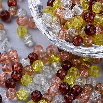 Perlas de vidrio craquelado pintadoDGLA-X0006-4mm-12-1