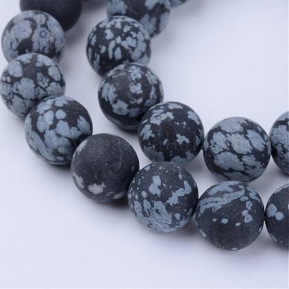 Chapelets de perles de flocon de neige en obsidienne naturelleG-Q462-6mm-10-1