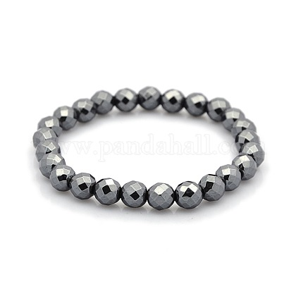 Magnetic Hematite Faceted Round Beads Stretch Bracelets for Valentine's Day Gift BJEW-M066-05-1