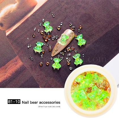 Nail Art Decoration Accessories, Resin Cabochons Glass Hole Beads, Chip & Bear, Lime, 10x8x4mm & 0.5~4x0.5~2x0.5~2mm & 2~5x2~3x2~3mm MRMJ-Q072-81-10