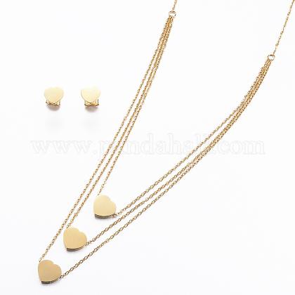 Conjuntos de joyería de 304 acero inoxidableSJEW-H097-08G-1