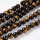 Natural Tiger Eye Beads Strands, Round, 6mm, Hole: 1mm; about 31pcs/strand, 8inches