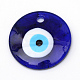 Handmade Evil Eye Lampwork Big Pendants, DarkBlue, 60~61x10mm, Hole: 5mm
