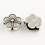 Tibetan Style Flower Alloy Slide Charms, Cadmium Free & Lead Free, Antique Silver, 16x16x6mm, Hole: 11x3mm; about 358pcs/1000g