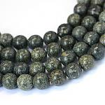 Natural Serpentine/Green Lace Stone Round Bead Strands, 8~8.5mm, Hole: 1mm; about 47pcs/strand, 15.5