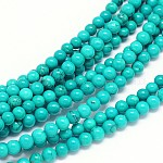 Natural Sinkiang Turquoise Round Bead Strands, Dyed & Heated, MediumTurquoise, 4mm, Hole: 1mm; about 101pcs/strand, 15.55