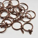 Llaveros divididas de hierro, cierre de llavero fornituras cobre rojo, 25x3mm