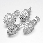 Rack Plating Brass Pendant Pinch Bails, Filigree Leaf, Silver Color Plated, 18~19x8x8~10mm, Hole: 2mm and 5x3mm; Pin: 1mm