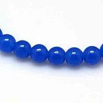 Natural Malaysia Jade Bead Strands, Round Dyed Beads, Blue, 6mm, Hole: 1mm; about 64pcs/strand, 15
