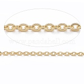 Vacuum Plating 304 Stainless Steel Cable Chains, for DIY Jewelry Making, Soldered, with Spool, Flat Oval, Golden, 1.5x1.3x0.3mm; about 10m/roll