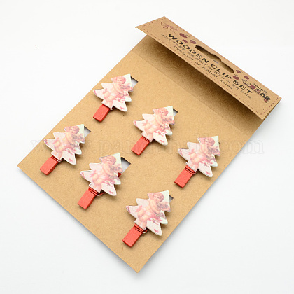 Cartoon Wooden Note Pegs Clips AJEW-S009-02-1