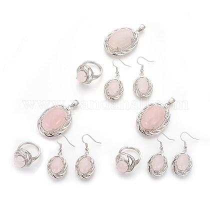 Natural rosa de sistemas de la joya de cuarzoSJEW-P156-01-1