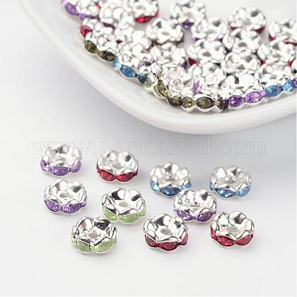 Acrylic Brass Rhinestone Spacer Beads X-RSB8mm-1
