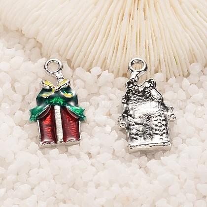 Weihnachtsgeschenkkasten Legierung Emaille AnhängerENAM-K037-PJ031-02P-1