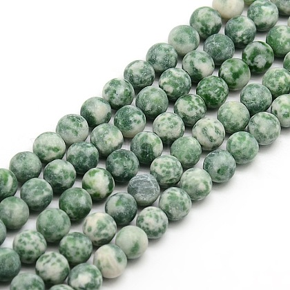 Frosted Natural Green Spot Jasper Round Bead Strands G-M064-4mm-10-1