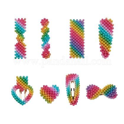 Pinzas de pelo de cocodrilo de perlas de imitación de plástico arco irisPHAR-TA0001-04-1