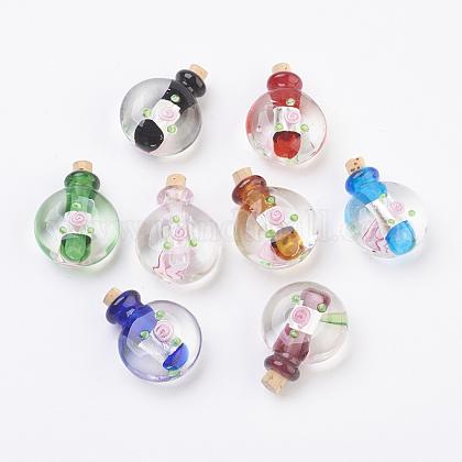 Colgantes de botellas de perfume de lampwork hecho a mano de plataFOIL-P001-C-1