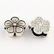 Tibetan Style Flower Alloy Slide Charms TIBEB-Q064-36AS-NR-1