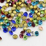 3.2~3.3MM Grade A Glass Pointed Back Chaton Rhinestone, Back Plated, Diamond, Mixed Color, 3.2~3.3mm; about 144pcs/gross