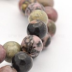 Round Natural Rhodonite Beads Strands, 8mm, Hole: 1mm; about 47pcs/strand, 15.5inches