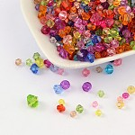 Transparent Acrylic Beads, Dyed, Faceted, Bicone, Mixed Color, 4~8mm, Hole: 1~1.5mm