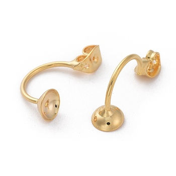 Brass Ear Nuts, Earring Backs, Nickel Free, Real 18K Gold Plated, 22x6mm, Hole: 0.8mm