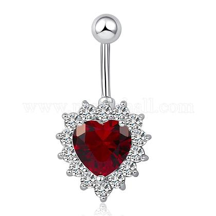 Piercing Jewelry Real Platinum Plated Brass Rhinestone Heart Navel Ring Belly Rings AJEW-EE0001-32B-1