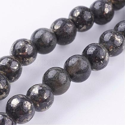 Natural Pyrite Beads Strands G-P303-01-6mm-8-1