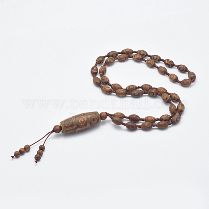 Joyería budista natural estilo tibetano cuentas ágata dzi collaresNJEW-I206-02A-1