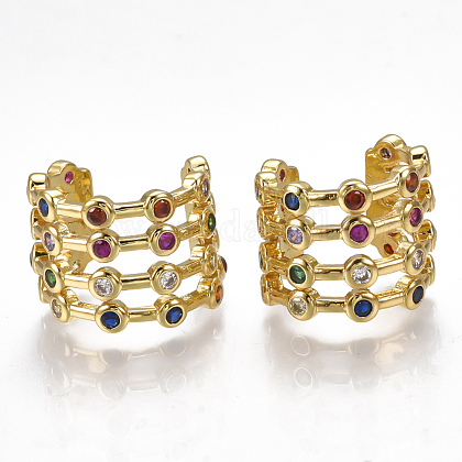 Brass Micro Pave Cubic Zirconia Clip-on EarringsEJEW-S201-53-1