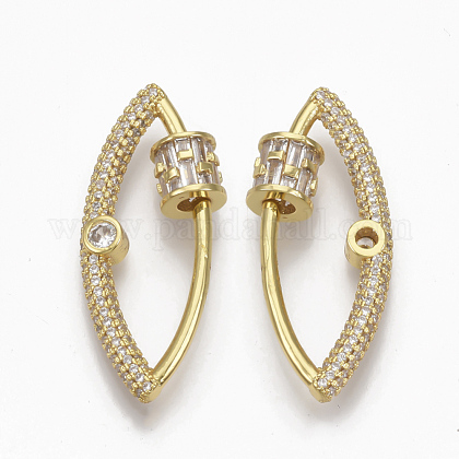 Brass Micro Pave Clear Cubic Zirconia Screw Carabiner Lock CharmsZIRC-T010-04G-1