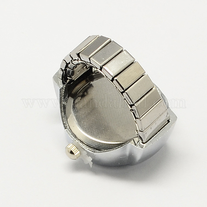 ホワイトゴールドトーンアイアンストレッチリングクォーツ時計RJEW-R119-14-1