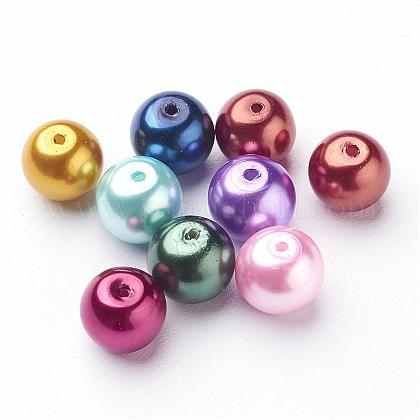 Mixed Color Round Glass Pearl BeadsX-HYC004-1