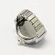 Platinum Tone Iron Stretch Ring Quartz WatchesRJEW-R119-14-4