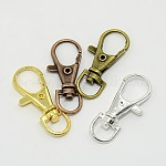Mixed Alloy Swivel Lobster Claw Clasps, Swivel Snap Hooks, Mixed Color, 37x15x4mm, Hole: 8.5x6mm