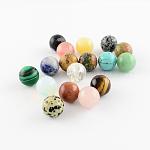 Perles de pierre gemme naturelles et synthétiques, sphère de pierres précieuses, pour création de fil enroulé pendentifs , ronde, pas de trous / non percés, couleur mixte, 10mm