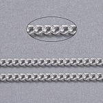 Brass Twisted Chains, Curb Chains, Unwelded, with Spool, Oval, Lead Free & Cadmium Free, Silver Color Plated, 2.5x2x0.5mm; about 92m/roll